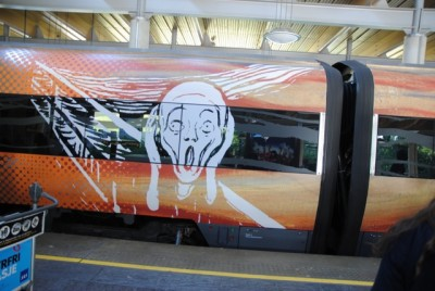 The Munch Museum has also gotten a boost from its new sponsor, Flytoget, which has decorated its airport express trains with Munch's art. PHOTO: newsinenglish.no