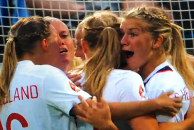 Norway's women's national football team ended up winning Thursday's semi-final at the European Championships and will now face Germany once again at the finals on Sunday. PHOTO: NRK screen grab/newsinenglish.no