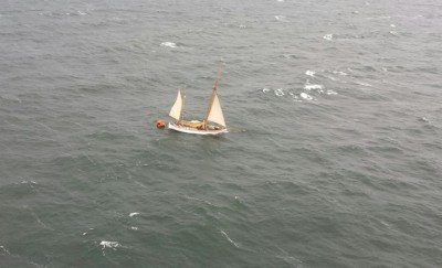 """This photo of the historic Norwegian sailing vessel """"Wyvern"""" was taken by the Swedish helicopter rescue crew just before it sank in the Baltic Thursday morning. PHOTO: Sjöfartverket"""