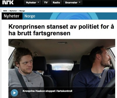 NRK was itself caught up in an awkward if somewhat humourous situation, when Crown Prince Haakon (right) got pulled over for speeding in California in May. PHOTO: NRK.no/NRK screen grab