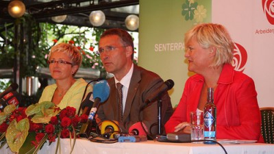 There aren't expected to be any joint appearances by the leaders of the current left-center coalition government like there was before the election in 2009. From left, Liv Signe Navarsete of the Center Party, Prime Minister Jens Stoltenberg of Labour and Kristin Halvorsen, former leader of the Socialist Left party SV.  PHOTO: Statsministerens kontor