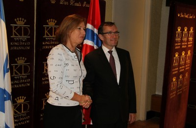 Norwegian Foreign Minister Espen Barth Eide met, among others, Israeli Justice Minister Tzipi Livni at the King David Hotel in Jerusalem on Monday. PHOTO: Utenriksdepartementet/Frode Overland Andersen