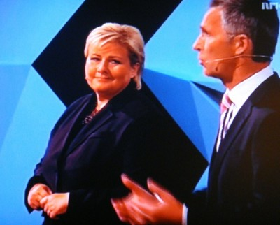 Erna Solberg and Jens Stoltenberg at one of their many televised debates during the election campaign last summer. Now Solberg finally is more popular among voters herself than Stoltenberg, who has ranked as one of Norway's most well-liked prime ministers ever. PHOTO: newsinenglish.no/NRK screen grab