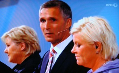 Prime Minister Jens Stoltenberg (center) is trying to hang onto government power, while Erna Solberg (left) and Siv Jensen (right) are trying to take it away from him. PHOTO: newsinenglish.no/NRK screen grab