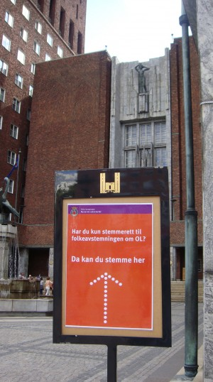 """""""Do you only have voting rights in the referendum (folkeavstemningen) on the Olympics (OL)? You can vote here,"""" reads the sign outside the main entrance of Oslo's City Hall. More signs are posted inside. PHOTO: newsinenglish.no"""