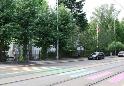 The Embassy of the Russian Federation in Oslo is located on a large compound in the Frogner-Skillebekk neighbourhood of Oslo, along with many others. The French and British embassies are located just across the street. PHOTO: newsinenglish.no