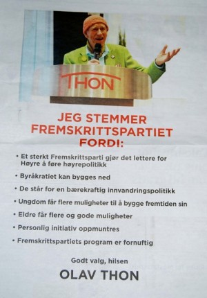 Wealthy real estate investor and businessman Olav Thon showed his support for the Progress Party with full-page ads in major Norwegian newspapers on Tuesday. FACSIMILE: newsinenglish.no