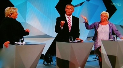 Monday night's first major party leader debate, broadcast live by NRK, left voters with few answers about what the platforms of a conservative coalition government would be. From left: Erna Solberg of the Conservatives, Jens Stoltenberg of Labour and Siv Jensen of the Progress Party. PHOTO: newsinenglish.no/NRK screen grab
