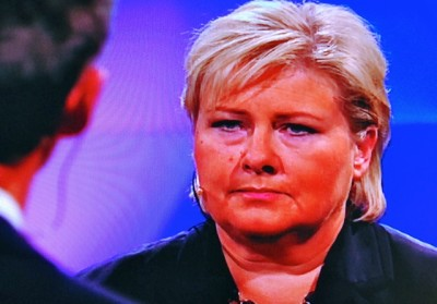 Conservatives' leader Erna Solberg was directly challenged over her support for removal of Norway's fortune tax, which researchers claim won't yield the results she believes it will. Stoltenberg also challenged Solberg to more clearly define how a government led by her would lead. Solberg appeared uncomfortable but unwavering in her stance. PHOTO: newsinenglish.no/NRK screen grab