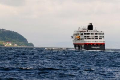 "Hurtigruten's ""MS Trollfjord"" leaving Trondheim last summer. PHOTO: newsinenglish.no"