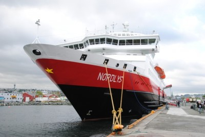 """Hurtigruten officials think their vessel """"Nordlys,"""" shown tied up in Trondheim, has been the target of cockroach sabotage. PHOTO: newsinenglish.no"""