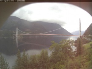 A view of the new Hardanger Bridge from a highway department's webcam. PHOTO: Statens vegvesen