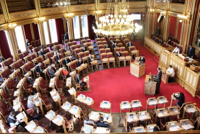 """""""All power in this room?"""" In fact, many laws to which Norwegians will need to adhere will be decided on by EU politicians at the European Parliament, where Norway has no representation. PHOTO: Fremskrittspartiet"""