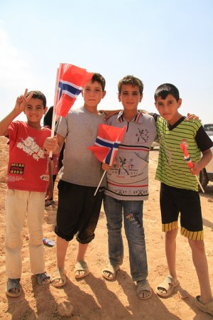 Syrian children at the opening of a Norwegian football project for young refugees at the Zatari refugee camp in Jordan last June. PHOTO: Utenriksdepartementet/Frode Overland