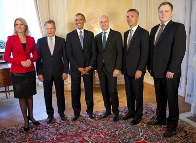 Norwegian Prime Minister Jens Stoltenberg (second from left) posed with the other Nordic prime ministers and US President Barack Obama at the home of Swedish Prime Minister Fredrik Reinfeldt on Wednesday night. Their meeting was dominated by the crisis in Syria. PHOTO: Regeringskansliet/Martina Huber