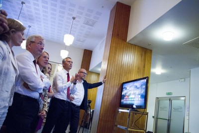 Stoltenberg and party colleagues watching election returns come in Monday night. He conceded his position as prime minister shortly thereafter. PHOTO: Arbeiderpartiet