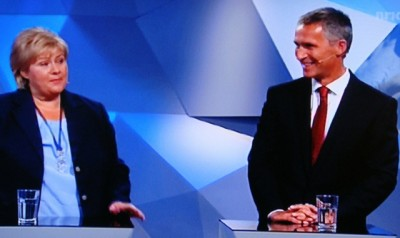 The earliest election returns suggested that Prime Minister Jens Stoltenberg may need to turn his office over to Erna Solberg of the Conservative Party. The two met for another dual appearance in the studio of Norwegian Broadcasting (NRK) before the first returns emerged Monday evening. PHOTO: NRK screen shot/newsinenglish.no
