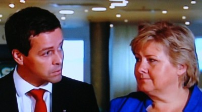 Prime Minister Erna Solberg (right) cut a deal with the head of the Christian Democrats, Knut Arild Hareide (left) last fall that's come back to haunt her. Now his small party is imposing its will in the abortion debate on the vast majority of Norwegians, pushing through a measure that a reported 77 percent of the people don't want. PHOTO: NRK screen grab/newsinenglish.no