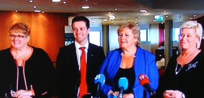 Erna Solberg (second from right) could confirm that she's the candidate for prime minister for a new non-socialist government coalition. Talks on a new government platform will also continue with (from left) Trine Skei Grande of the Liberal Party, Knut Arild Hareide of the Christian Democrats and Siv Jensen of the Progress Party. PHOTO: NRK screen grab/newsinenglish.no