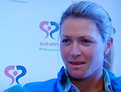 Golfing star Suzann Pettersen back home in Norway this week. PHOTO: NRK screen grab/newsinenglish.no