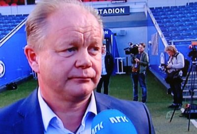 Per-Mathias Høgmo is under fire after a string of losses as head coach of Norway's national men's football team. PHOTO: NRK screen grab/newsinenglish.no