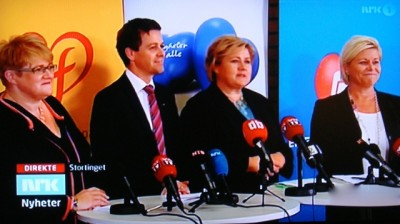 The leader of Norway's four non-socialist parties won't be forming a government together after all, but will cooperate on several issues to get majority support in parliament. PHOTO: NRK screen grab/newsinenglish.no