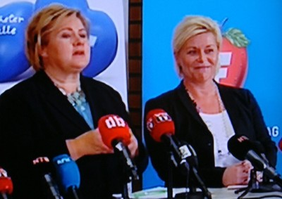 The parties led by Prime Minister Erna Solberg (right) and Finance Minister Siv Jensen (left) have rebounded in public opinion polls, likely because of their opposition to calls for their government to accept 10,000 more refugees from Syria. PHOTO: NRK screen grab/newsinenglish.no