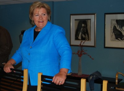 Erna Solberg, head of Norway's Conservative Party, will likely learn early next week whether she'll be her country's next prime minister. PHOTO: newsinenglish.no/Nina Berglund