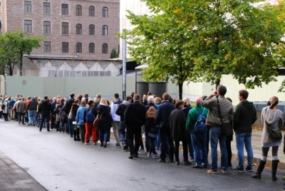 """People lined up for the chance to see inside the buildings that once housed Norway's government before it was was attacked by an ultra-right-wing terrorist on July 22, 2011. The area, known as """"Regjeringskvartalet,"""" has since been cleaned up and the damaged but solid buildings await their fate. PHOTO: newsinenglish.no"""