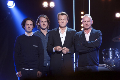 Ylvisåker brothers Vegard and Bård, left, with talk show host Fredrik Skavlan and rock star Sting on Friday's show. PHOTO: Monkberry AS.