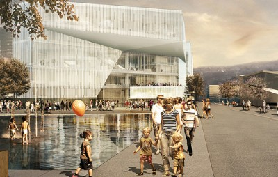 Architect's image of the future Deichmanske Library, soon to be built at Bjørvika, next to Oslo's Opera House ILLUSTRATION: Atelier Oslo og Lund Hagem Arkitekter