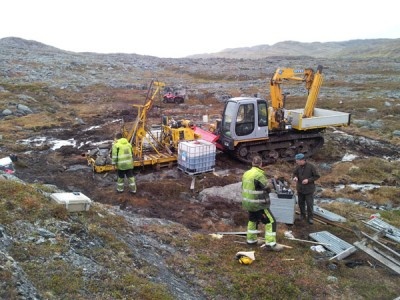 Nussir reported a major discovery last month after drilling as deep as 600 meters into the mountains above the Repparfjord. PHOTO: Nussir ASA