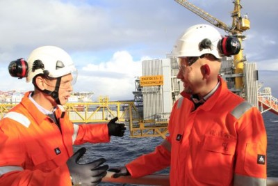 Norway's new Oil & Energy Minister Tord Lien (right) met with Steinar Våge of Conoco Phillips while visiting the Ekofisk field in the North Sea and formally ushering in another 40 years of production. PHOTO: Olje- og Energi Departementet/Ole Berthelsen
