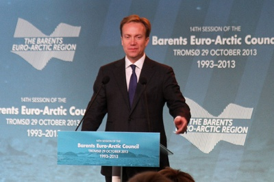 Foreign Minister Børge Brende speaking in Tromsø on Tuesday. PHOTO: Utenriksdepartementet