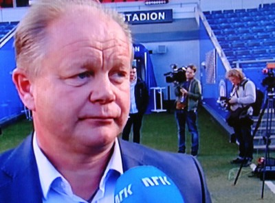 New head coach Per Mathias Høgmo is now charged with building up Norway's national men's football team. PHOTO: NRK screen grab/newsinenglish.no