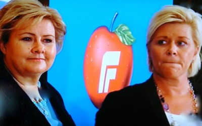 Prime Minister Erna Solberg (left), stung by poor mid-term election results, remains keen to keep her government coalition with Siv Jensen's Progress Party intact. PHOTO: NRK screen grab/newsinenglish.no