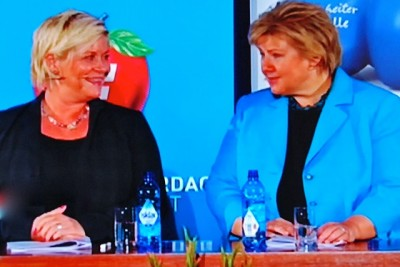 Siv Jensen (left), leader of the Progress Party, and Prime Minister-elect Erna Solberg, leader of the Conservative Party, promised a lot of changes in how Norway is governed, with more individual choice and freedom. PHOTO: NRK screen grab/newsinenglish.no