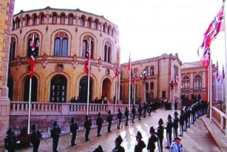 The Freemasons' lodge in Oslo is located right next door to the Parliament, and can be seen at the far right in this photo from the parliament's ceremonial opening day earlier this month. PHOTO: newsinenglish.no