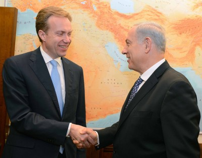 Foreign Minister Børge Brende (left) with Israeli Prime Minister Benjamin Netanyahu, during Brende's first official trip to the Middle East earlier this week. PHOTO: Utenriksdepartmentet