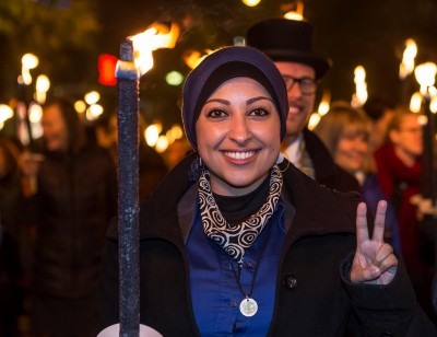 Maryam al-Khawaja during the torchlight parade in Bergen on Sunday, to honour this year's Rafto Prize winner, the Bahrain Center for Human Rights. PHOTO: Lind and Lunde/Rafto Foundation