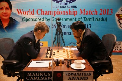 Magnus Carlsen of Norway (left) and Vishy Anand of India are now more than halfway through their world championship tournament in Chennai, India. Expert commentator Jonathan Tisdall writes that Carlsen is now poised to win. PHOTO: Paul Truong