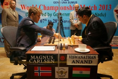 Magnus Carlsen of Norway won again on Thursday and only needs another half-point to claim the World Chess Championship. PHOTO: Paul Truong