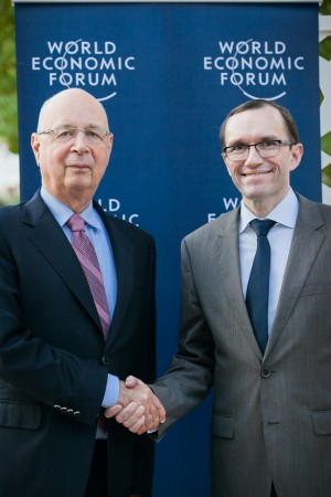 Former Norwegian Foreign Minister Espen Barth Eide (right) will be taking over as managing director of the World Economic Forum after Christmas. At left, Forum founder Klaus Schwab. PHOTO: World Economic Forum/Jakob Polacsek