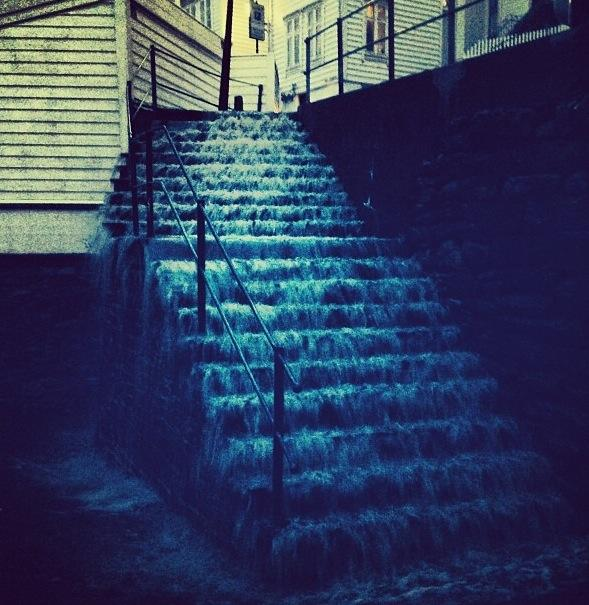Torrential rain turned Bergen's streets into rivers and its staircases into waterfalls. PHOTO: Rosie X. Black