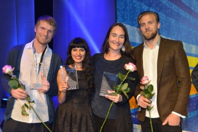 Three Norwegian directors won top prizes and one a special mention at a large Nordic and Baltic film festival over the weekend. From left: Christian Lo, Iram Haq, Kari Anne Moe and actor Tobias Santelmann (I am Yours/Chasing the Wind). PHOTO: Norwegian Film Institute/Sigurd Moe Hetland