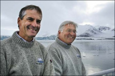 Jonas Gahr Støre (left) with Frank-Walter Steinmeier on Svalbard in 2006, when both were still their country's foreign ministers. Foreign policy in the Arctic was a major topic of conversation for them both. PHOTO: Willy Brandt Foundation/Scanpix