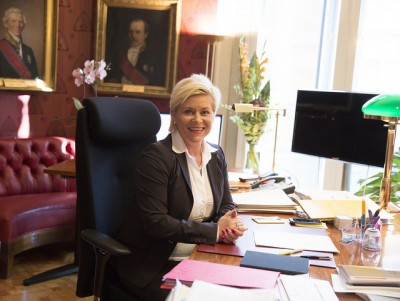 Finance Minister and Progress Party Leader Siv Jensen has promised corporate tax cuts in the upcoming March budget, and says all other fees and levies will also be reviewed. PHOTO: Rune Kongsro/Finansdepartementet