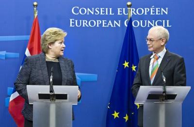 Solberg also spoke with Herman Van Rompuy, president of the European Council. PHOTO: Statsministerens kontor/Juha Roininen/EUP Images