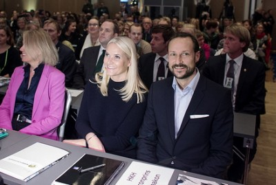 Rumours of a split between Crown Princess Mette-Marit and Crown Prince Haakon appeared to be greatly exaggerated on Wednesday, when they appeared together at a NORAD conference in Oslo. PHOTO: NORAD/Espen Røst