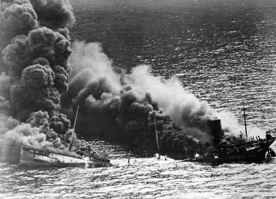 An unknown allied tanker after being torpedoed during World War II. PHOTO: Wikipedia Commons